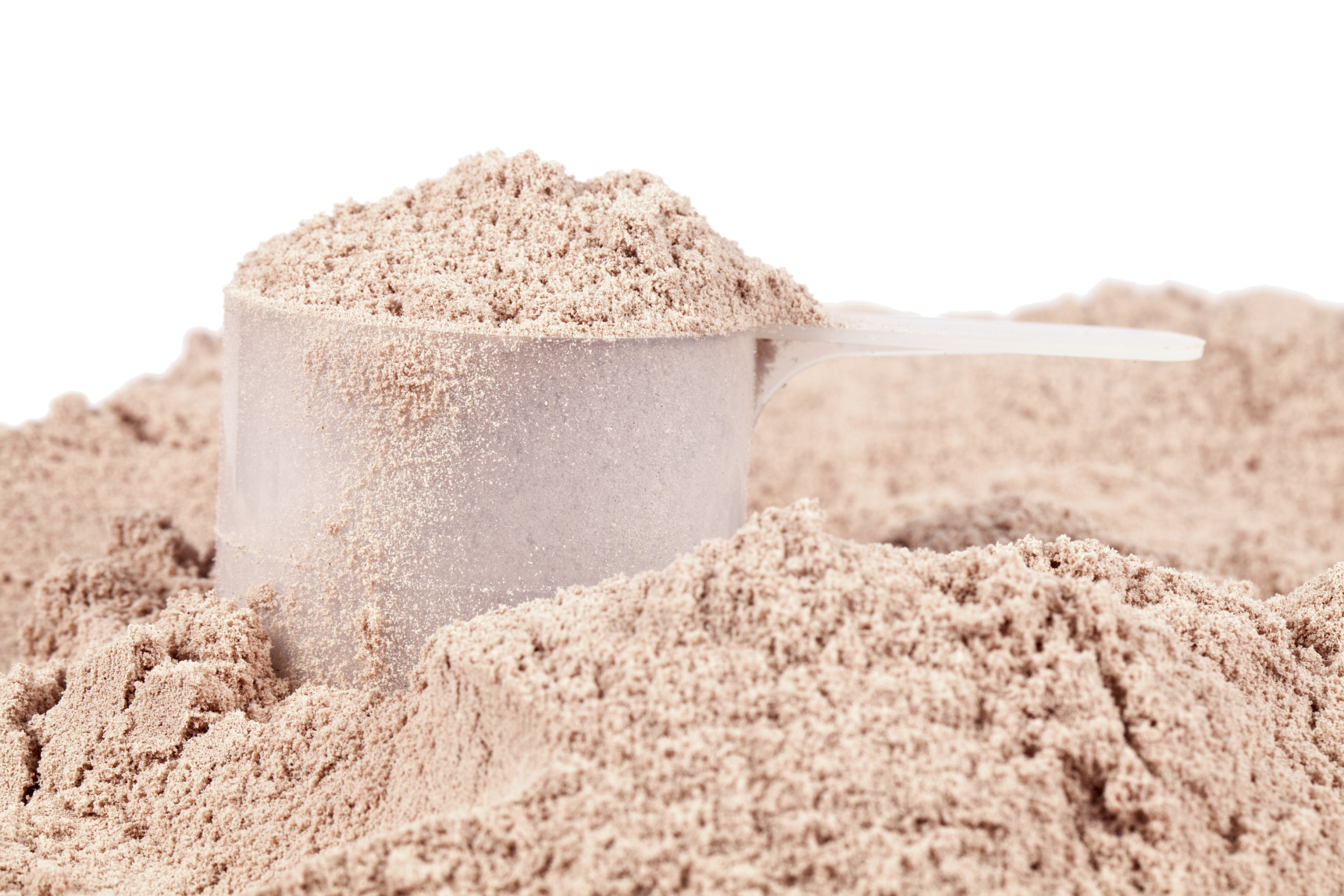 Scoop of chocolate whey isolate protein
